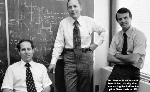 Bob Maurer, Don Keck and Peter Schultz shortly after announcing the first low loss optical fibers made in 1970.